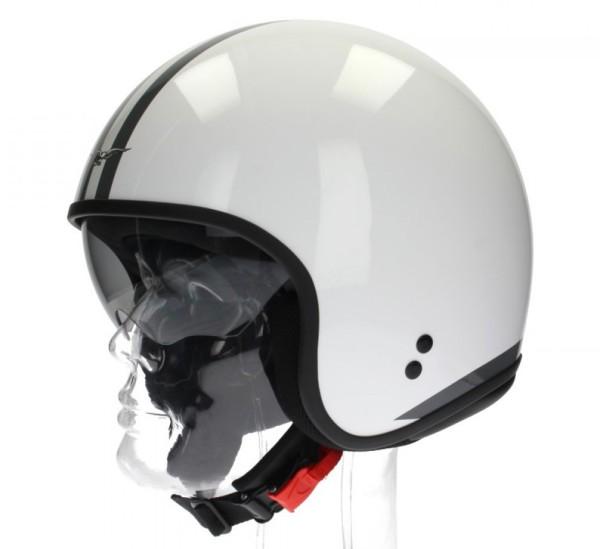 Casco Moto Guzzi Jet, Strisce Bianche, bianco