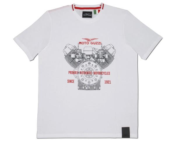 T-shirt Moto Guzzi uomo classica cotone bianco