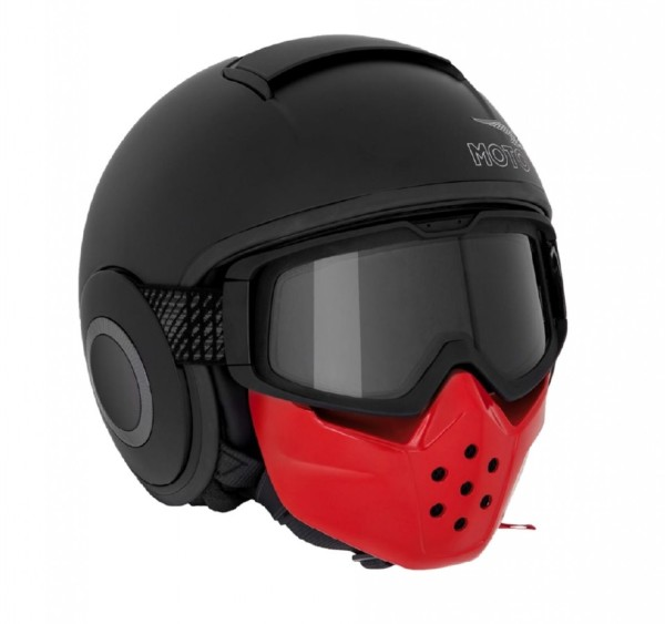 Casco moto Guzzi jet, maschera, nero opaco