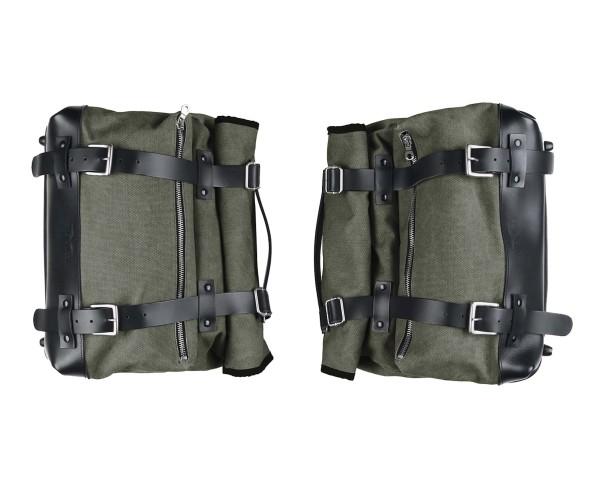 Set borse laterali, verde, in tela per Moto Guzzi V9 Roamber / Bobber / V7 850 2021-